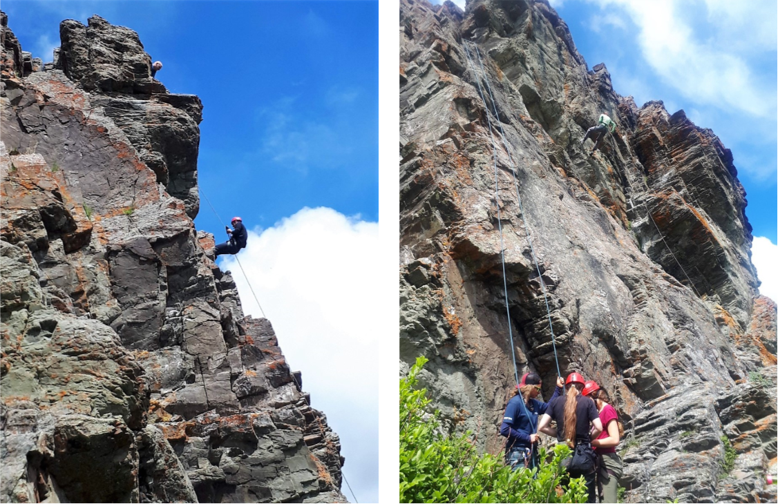 D3: rock climbing and rappelling