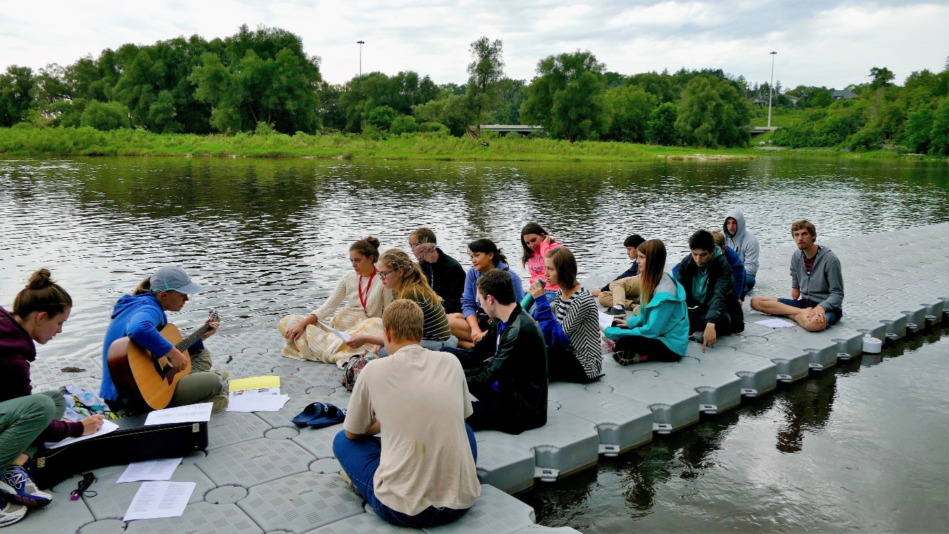 Worship time by the river.